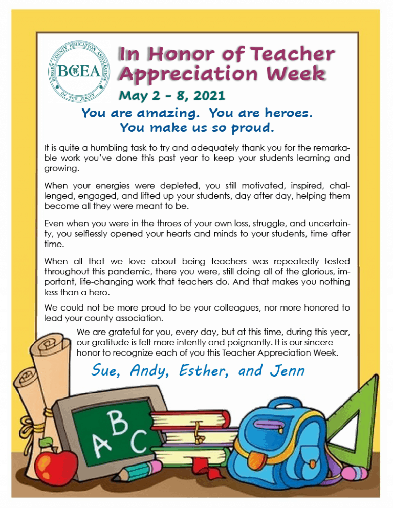 The BCEA Wishes All Members: A Happy Teacher Appreciation Week