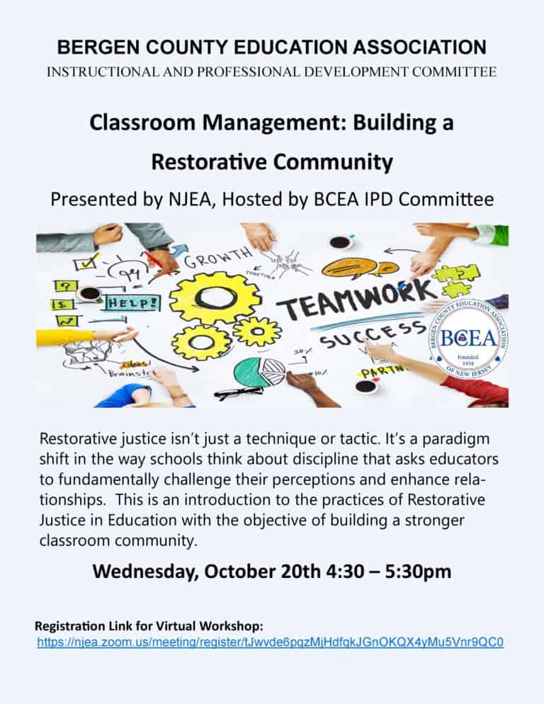 All BCEA Members are Welcome to Attend this Professional Development Workshop on 10/20/21 on Classroom Management